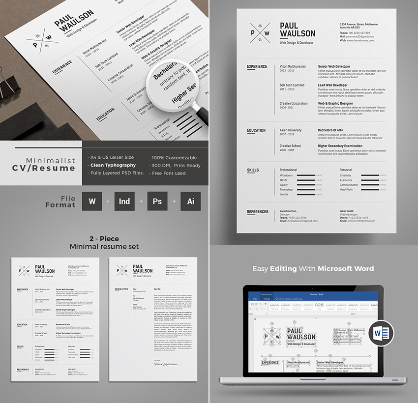 Minimal Professional Resume Template Word Design  Creative Resume Template Word