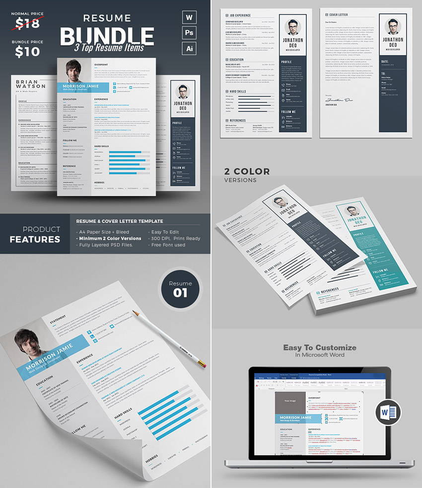Resume Bundle Template Set With MS Word Files Professional Microsoft ...  Professional Resume Templates Microsoft Word