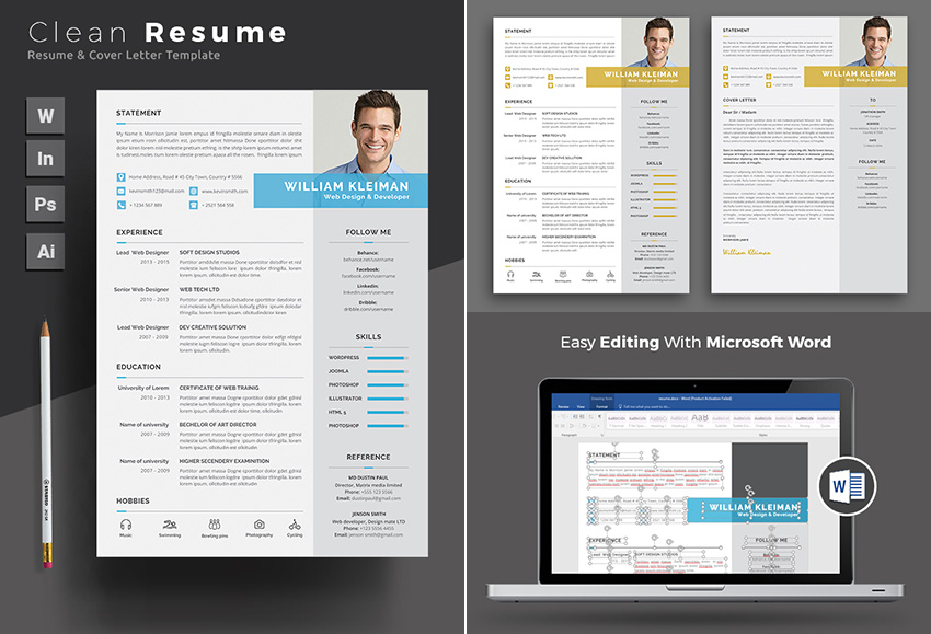 Clean Resume Template MS Word Design Set