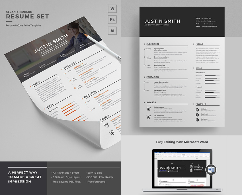 Clean Simple Modern Resume Template Word Microsoft