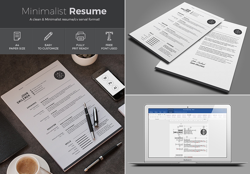 Simple Resume Template MS Word Design