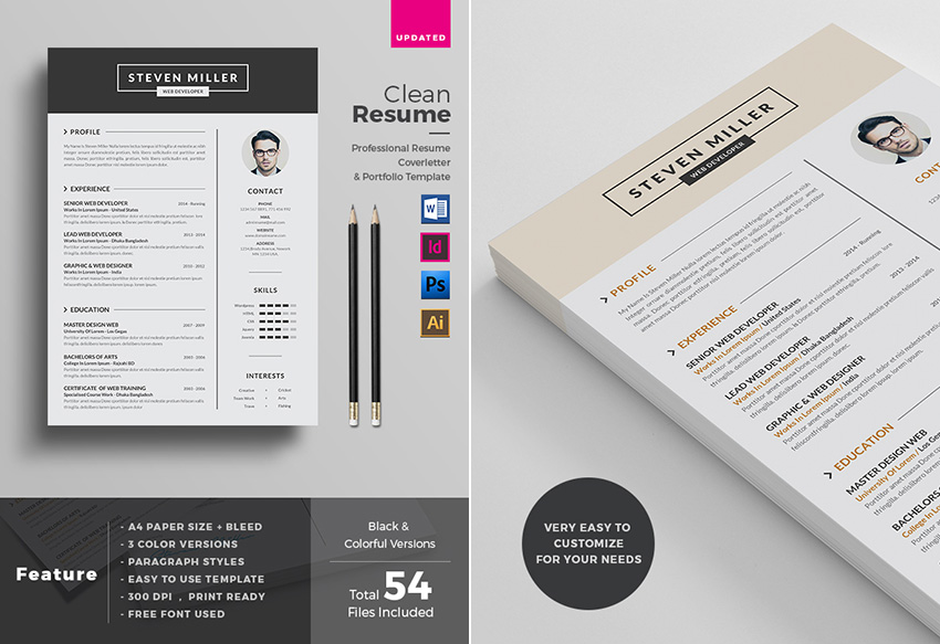 Professional MS Word Resume Template Design  Colorful Resume Templates