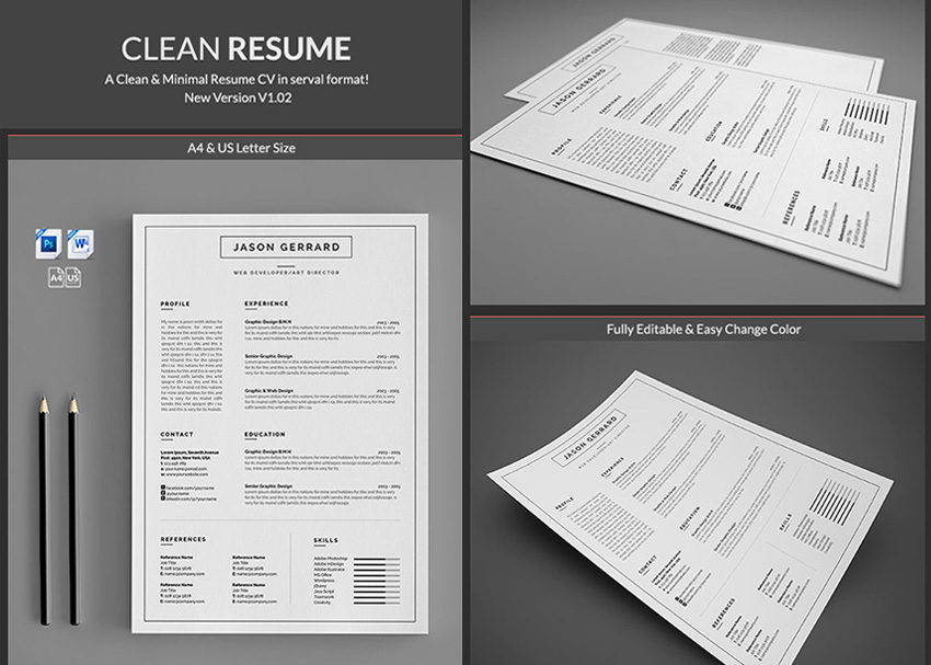 20 professional ms word resume templates with simple designs minimal simple microsoft word resume templates professional yelopaper Images