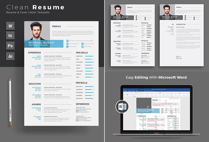 Clean Microsoft Word CV Resume Template Pro Set