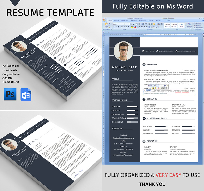 Professional MS Resume Template Design For Word