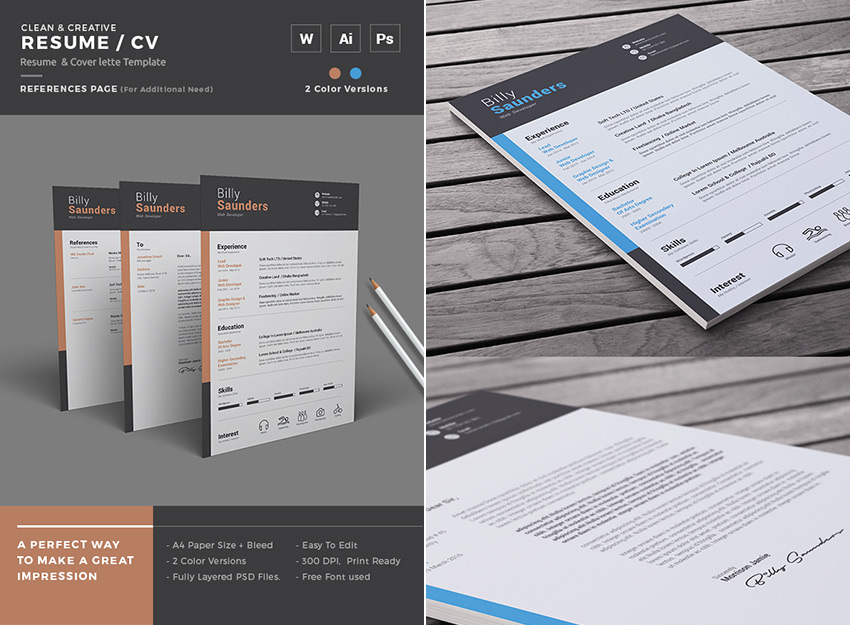 Perfect Simple Creative Resume Microsoft Word Template