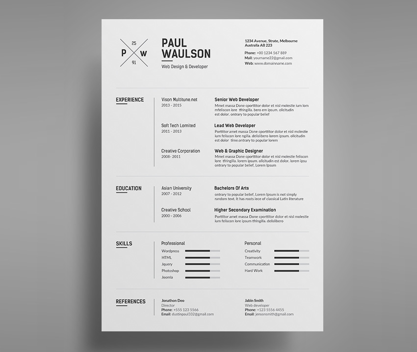 Simple creative Word resume template design