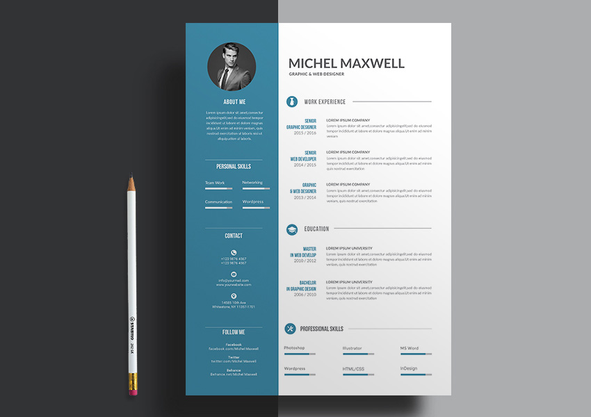 Clean Word Resume Design With Clearly Defined Columns  Design Resume Templates