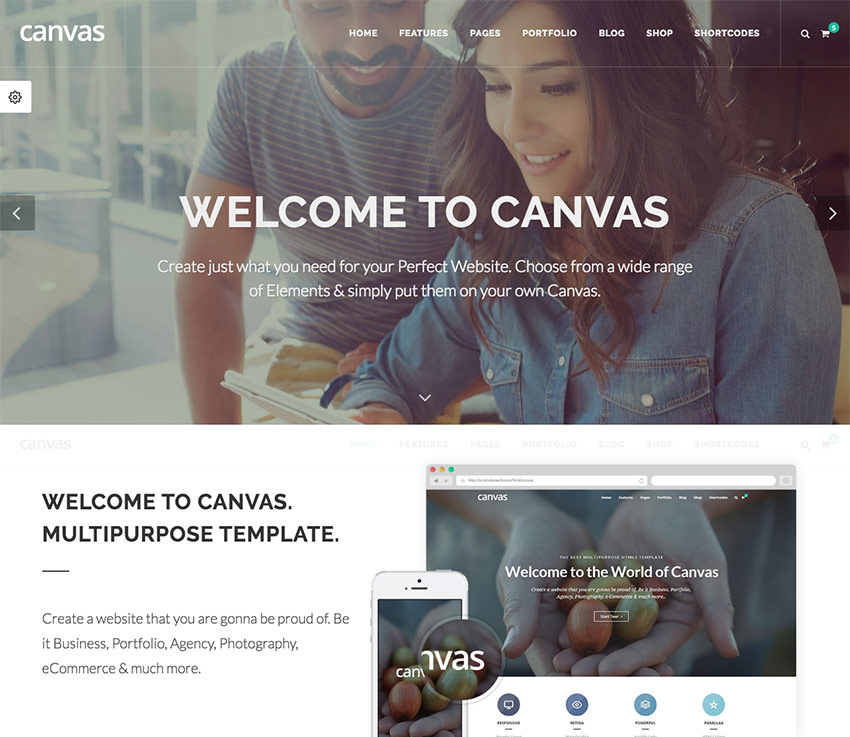 Canvas small business website template
