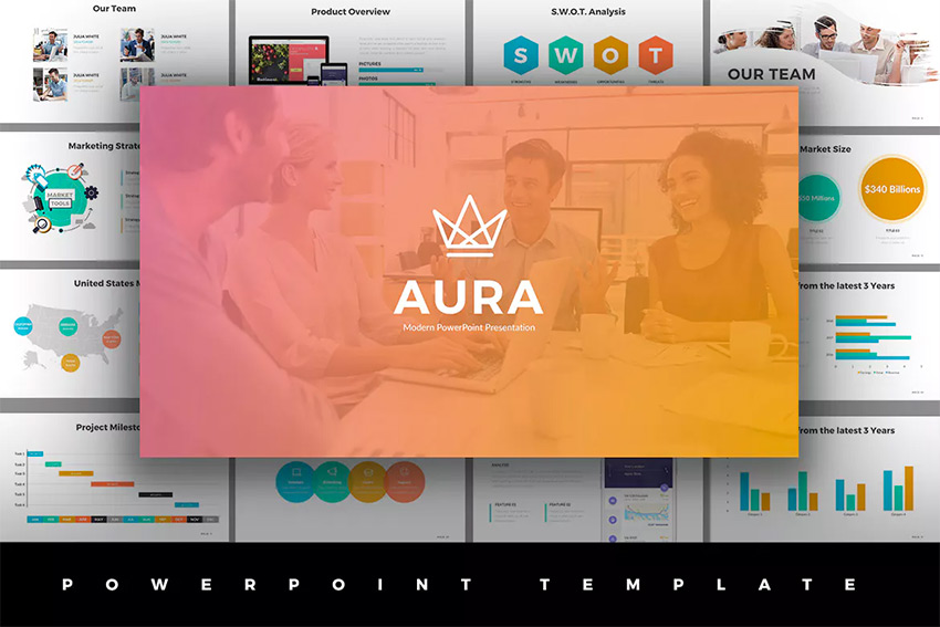 Aura - Awesome PPT Template With Cool Slide Designs