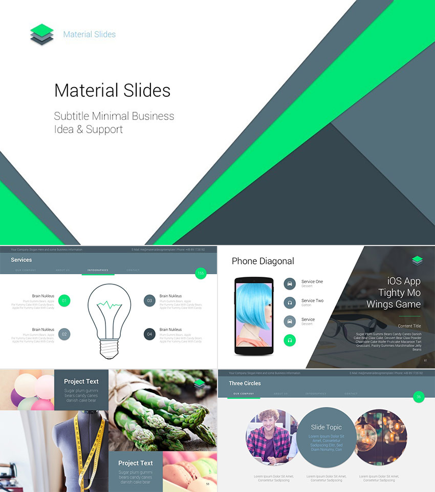 Material Flat Cool PowerPoint Presentation Template