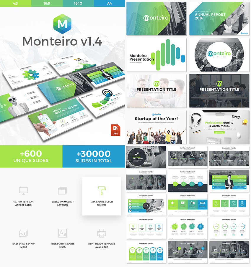 Monteiro Unique PowerPoint Template With Cool Designs