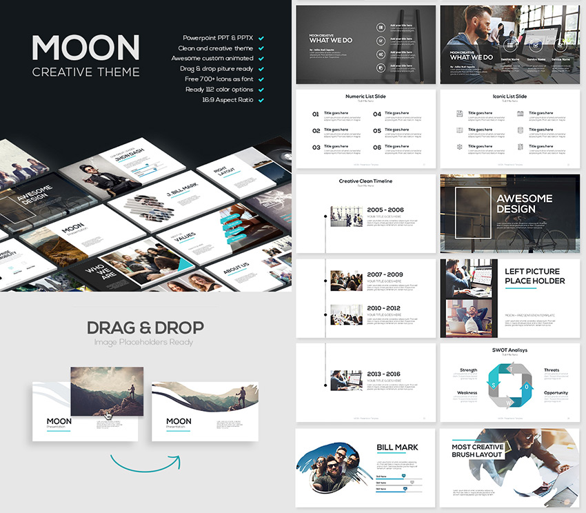 Moon Cool Point Template With Creative Slides