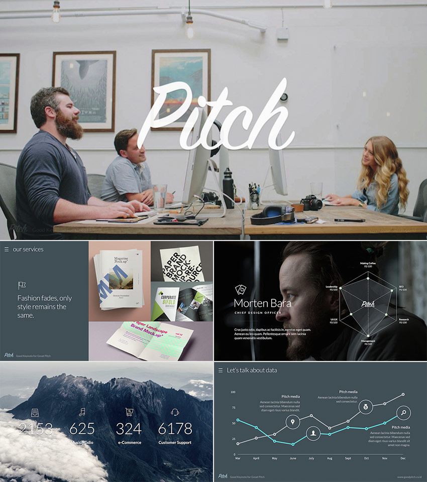Pitch Awesome PPT Template With Cool Modern Design