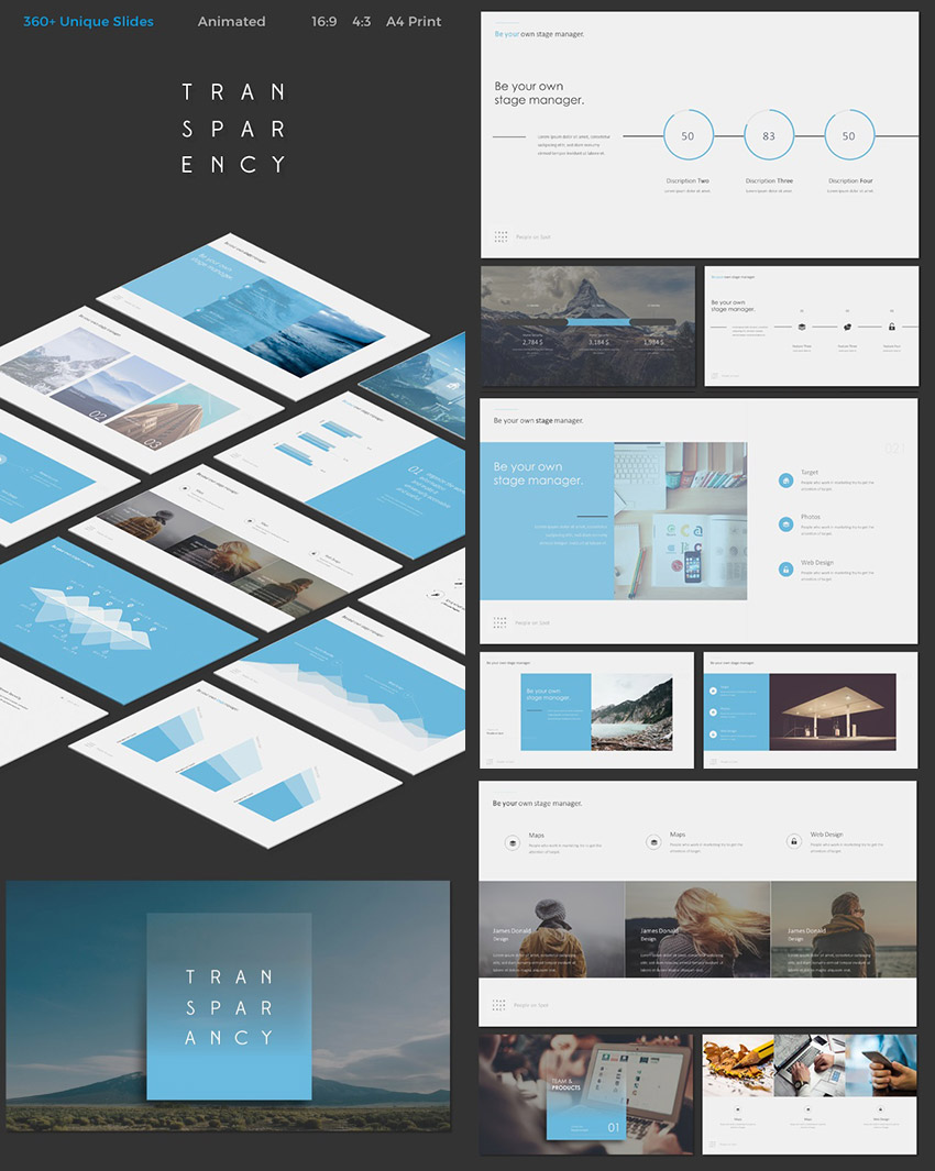 Transparency Cool PPT Template With Awesome Designs