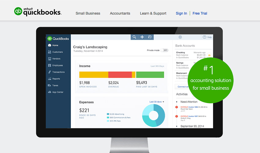 Quickbooks online business accounting software