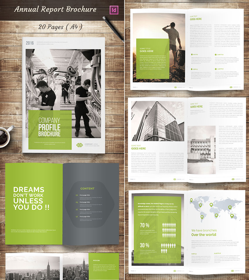 Annual Report InDesign Brochure Template Design  Annual Reports Templates