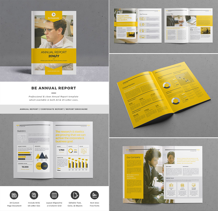 Be Annual Report InDesign Template Premium Set  Annual Report Template Design
