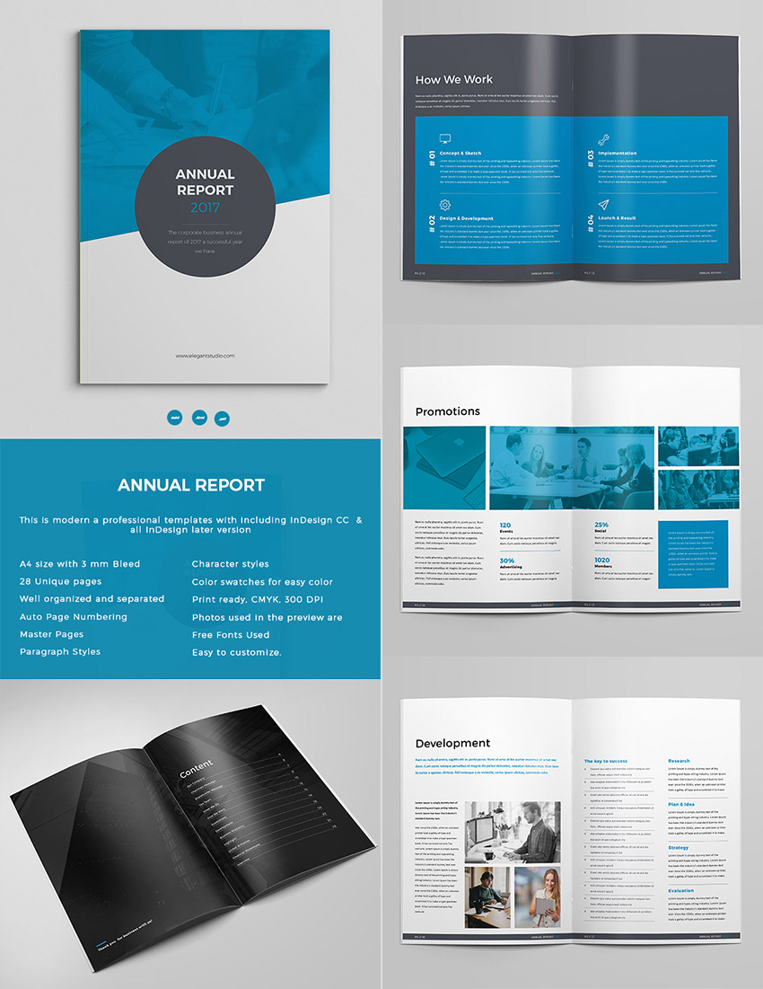 Exceptional Bold Annual Report Template InDesign Design Set  Annual Report Template Design