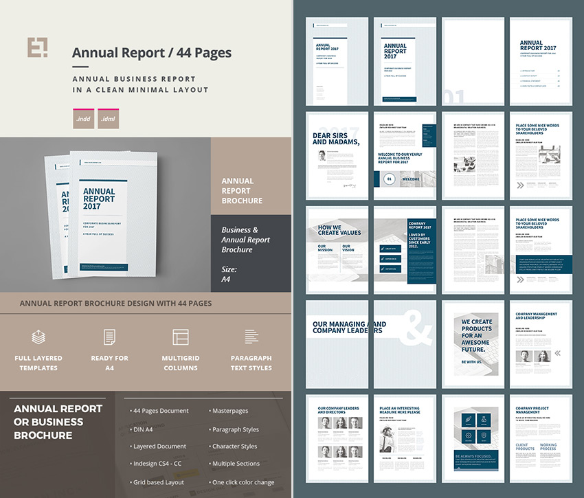 Annual Report Brochure Business InDesign Template  Annual Report Template Design