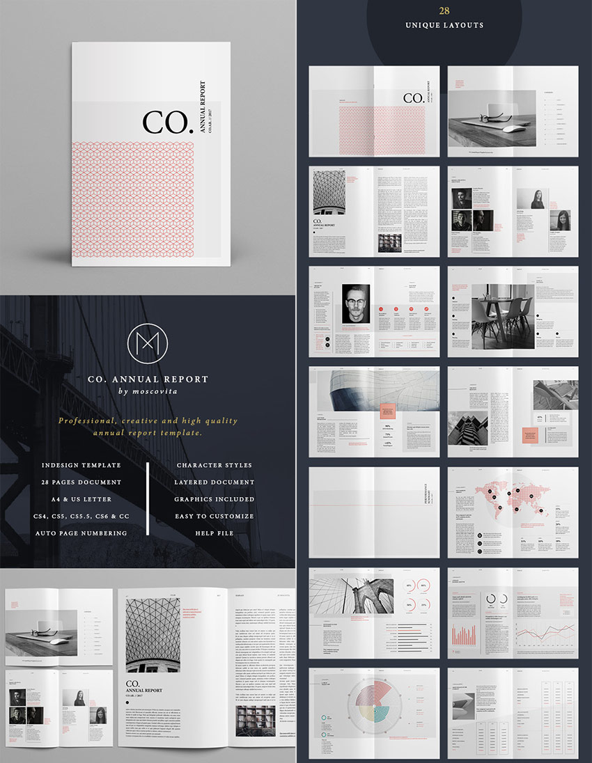 CO Minimal Annual Report InDesign Template Design  Annual Reports Templates