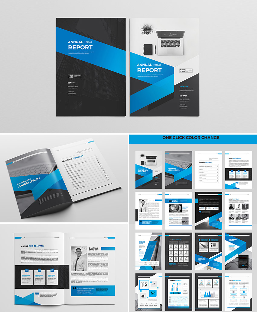 Cool InDesign Annual Corporate Report Template