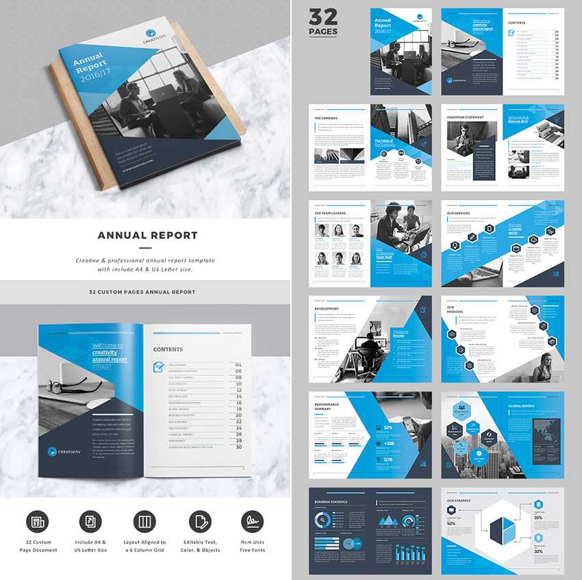 High Quality Creative Business InDesign Annual Report Template Throughout Annual Reports Templates