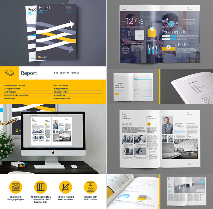 Awesome InDesign Annual Report Template Design  Annual Report Template Design