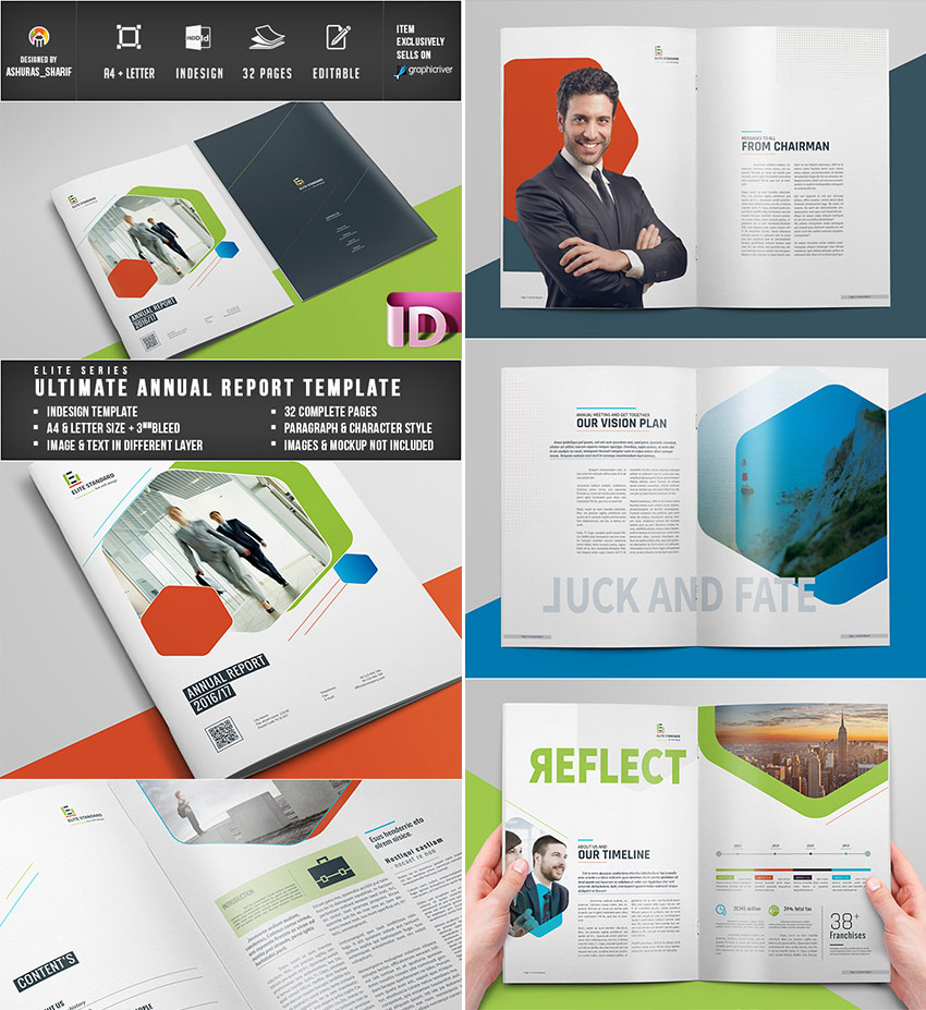 Ultimate InDesign Annual Report Template With Colorful Design  Annual Reports Templates