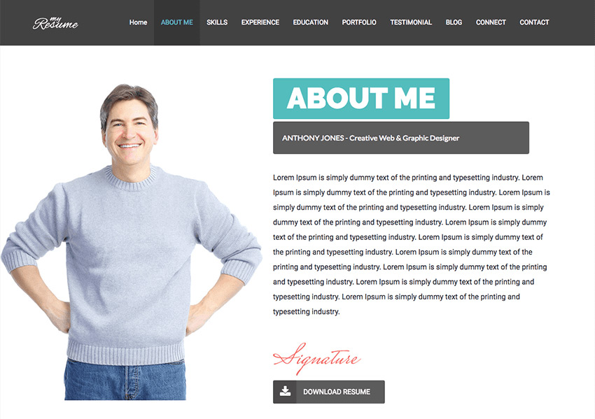 how to make a personal resume website from a wordpress theme