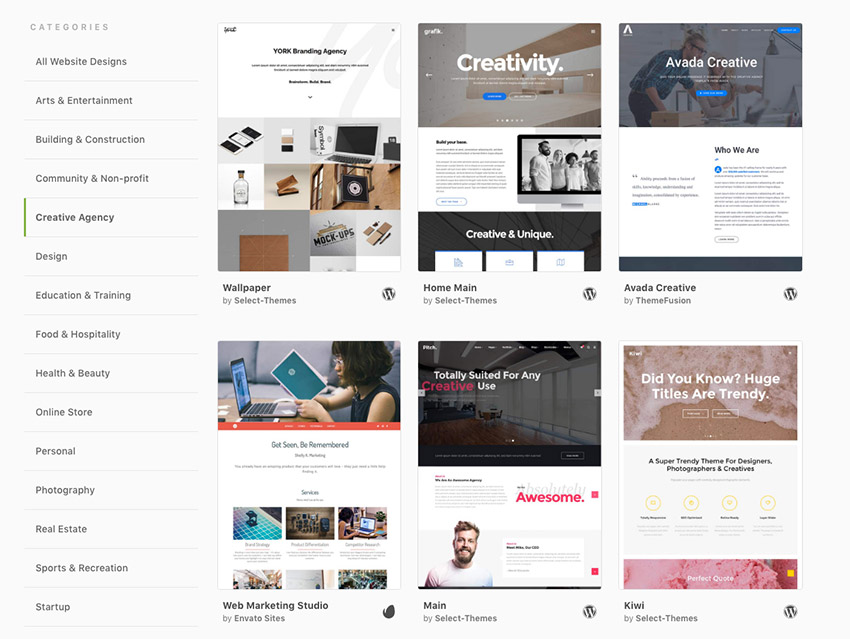 Creative Agency WordPress themes on Envato Hosted