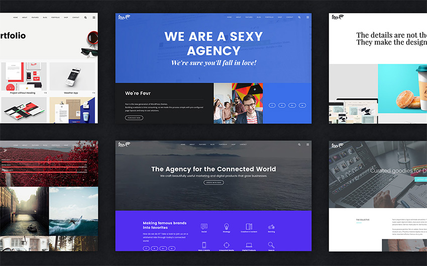 Fevr Creative agency WordPress theme design
