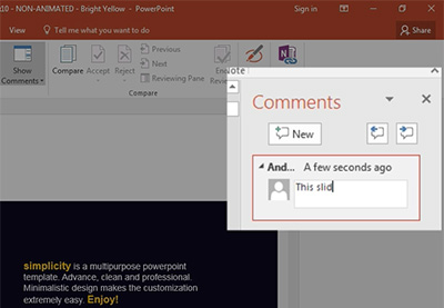 How to add powerpoint comments