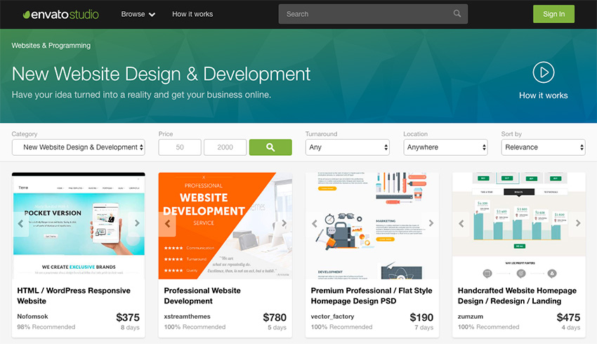 Envato Studio web design services
