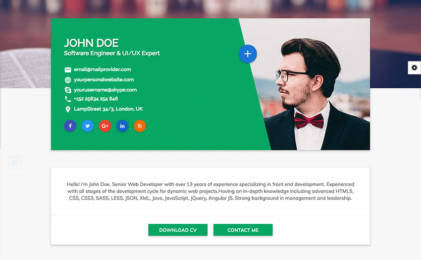 free bootstrap resumecv template for developers default colour - Resume Web Template