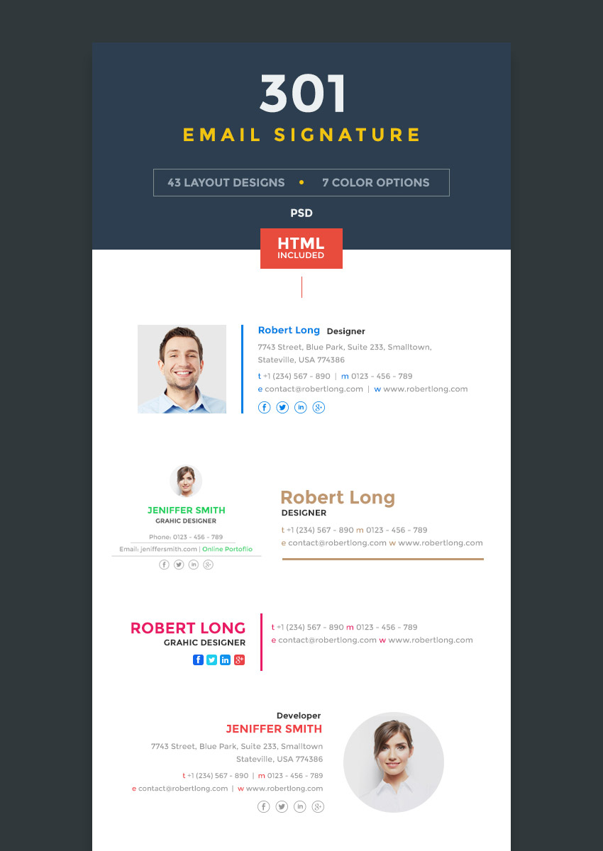 Modern Format Business Email Signature Templates