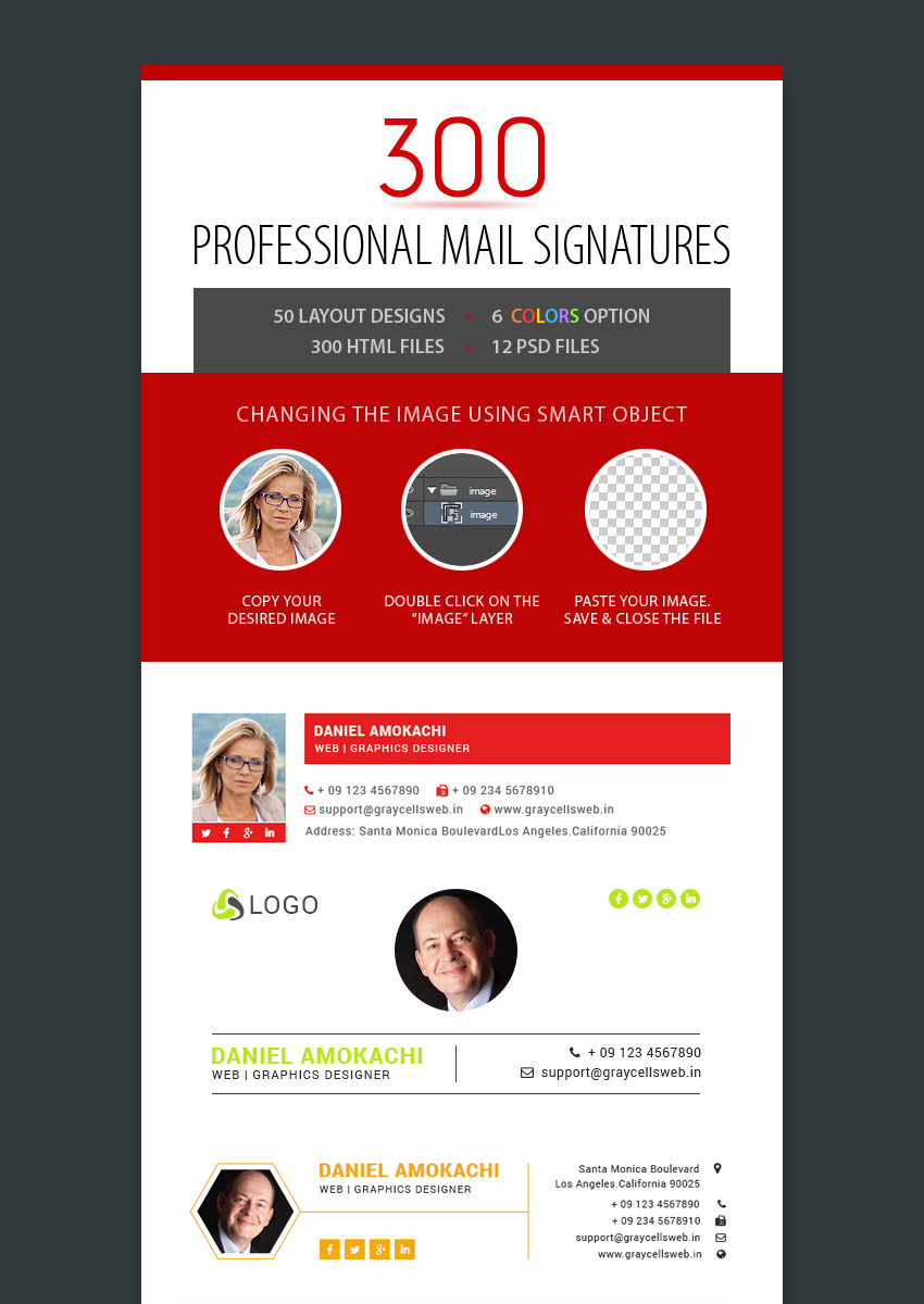 300 Professional Email Signatures Template Designs