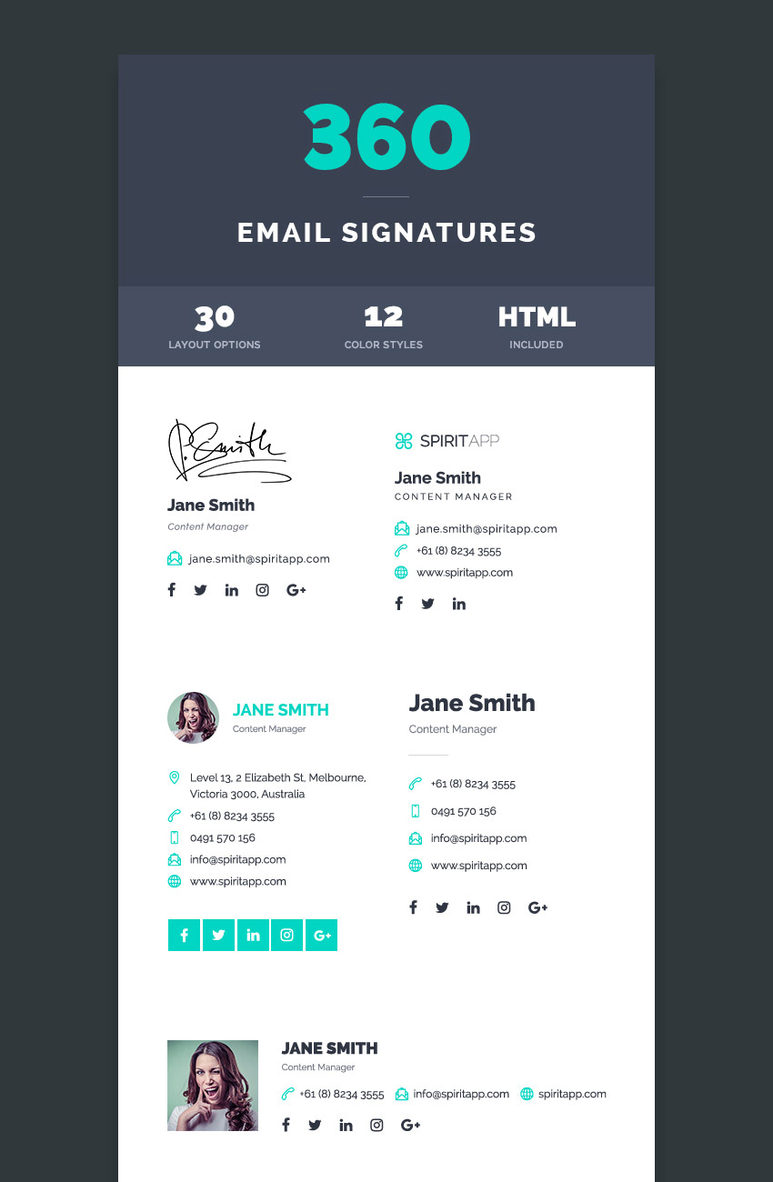 12 Professional Html Psd Email Signature Templates With Unique