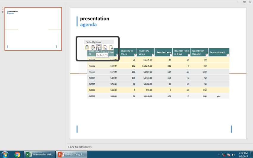 Embed Excel File into PowerPoint