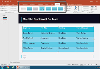 How to style tables in powerpoint