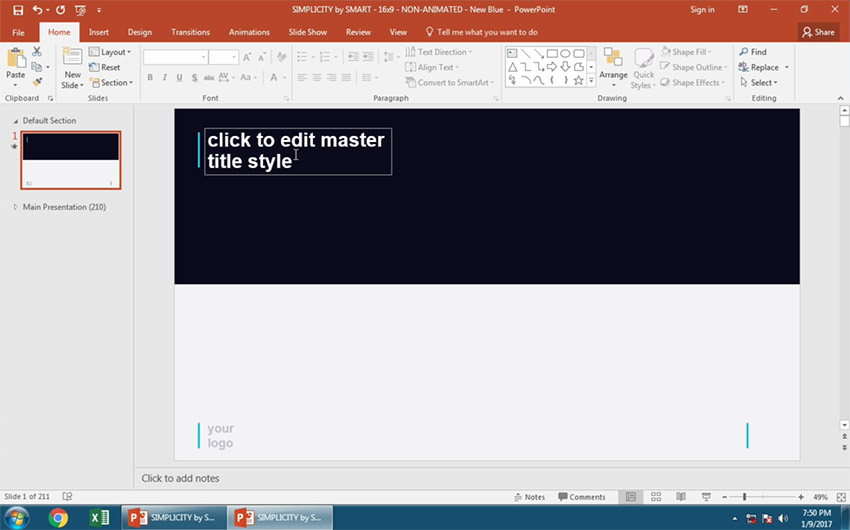 Change PowerPoint Slide Layout to Dark Top slide option
