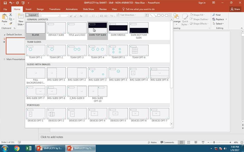 Slide layout options in PowerPoint