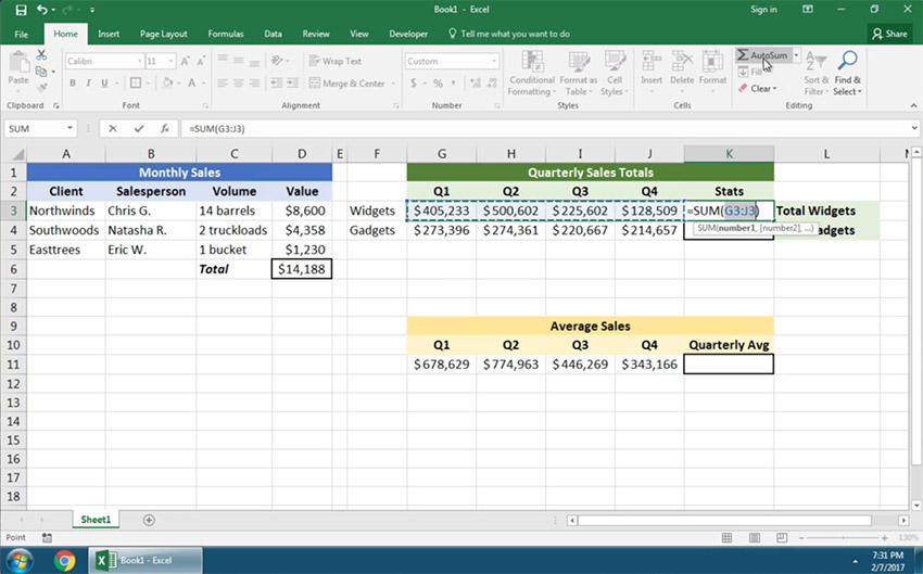Use autosum in Excel on a horiztonal list