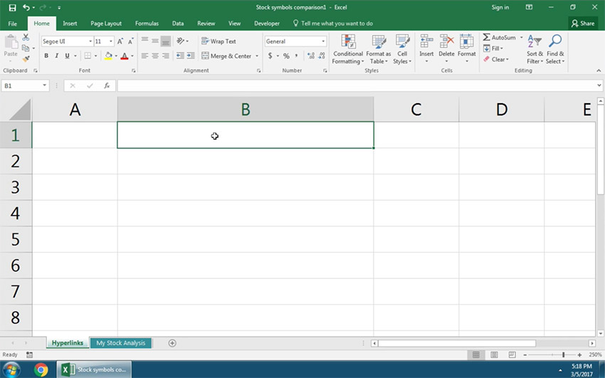 Choose the Excel cell to add a link to
