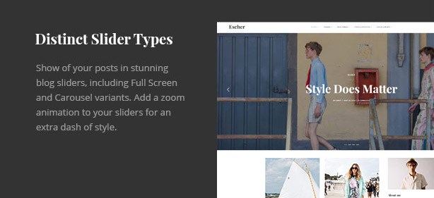 Escher personal WordPress theme slider types