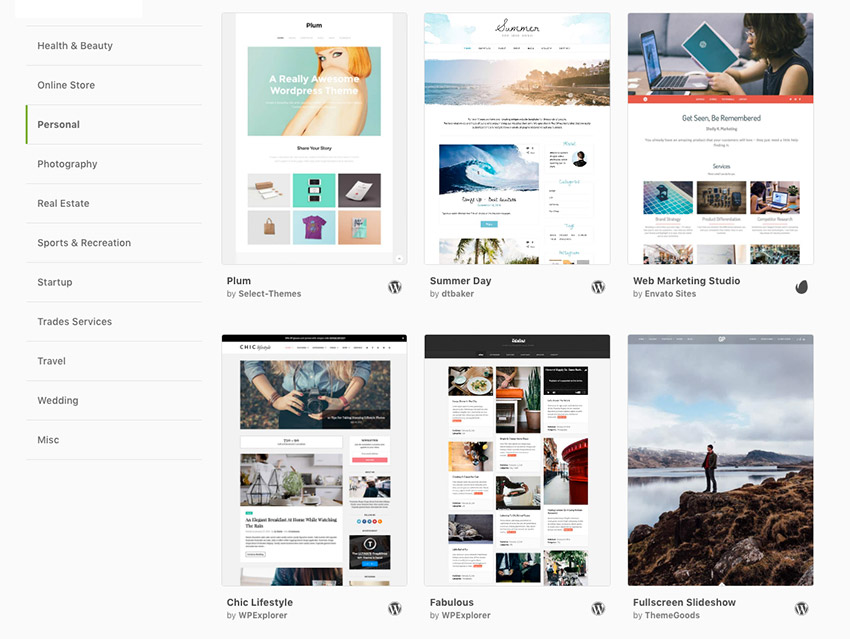 Personal WordPress blog themes on Envato Hosted