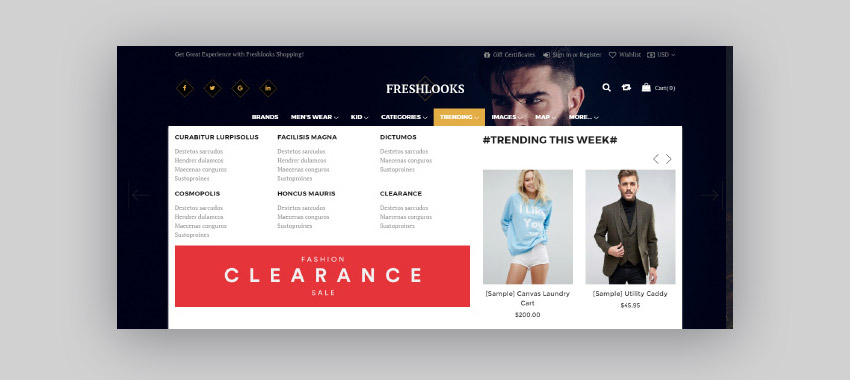 Freshlooks BigCommerce theme - with Mega Menu