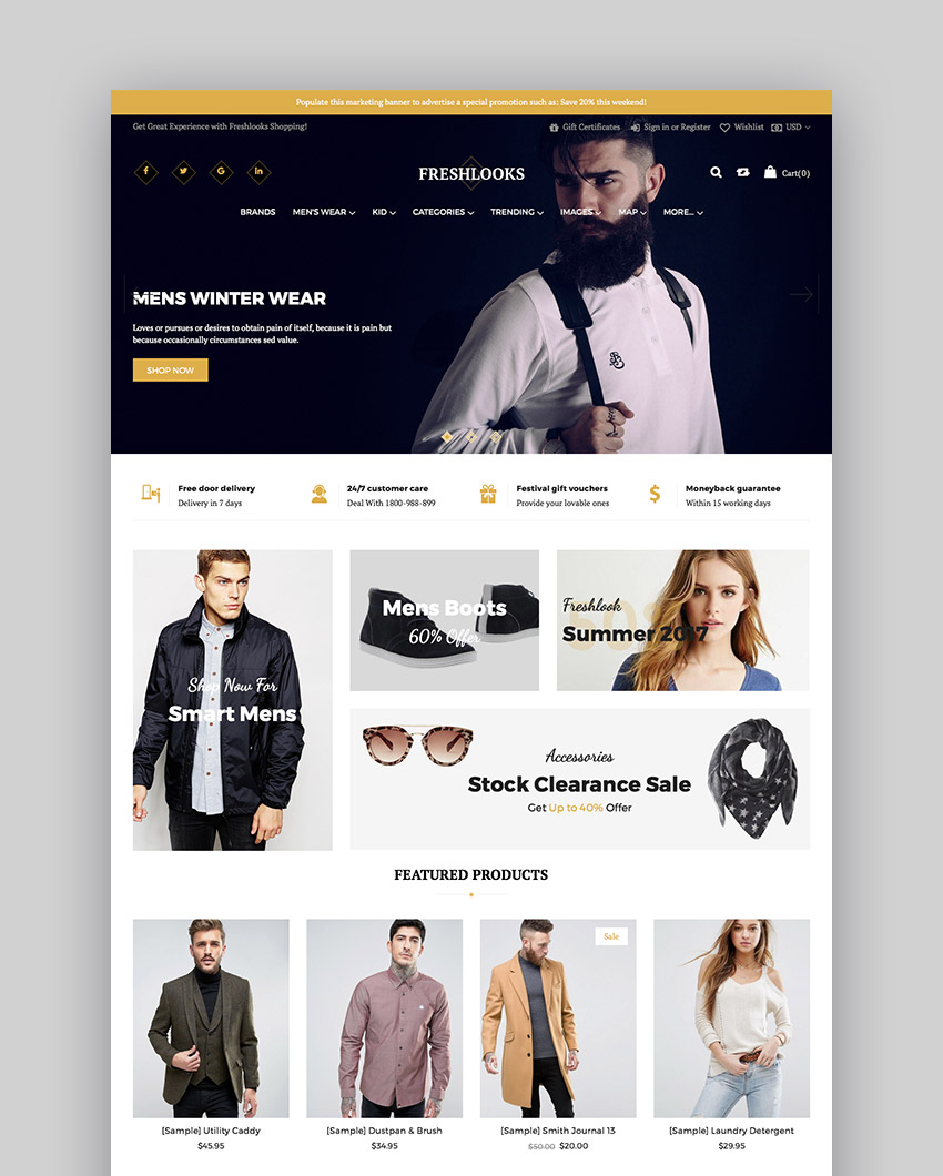 FreshLooks Fashion Online Store BigCommerce Theme