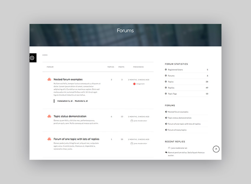 Sentric knowledge-base WordPress theme with forum example