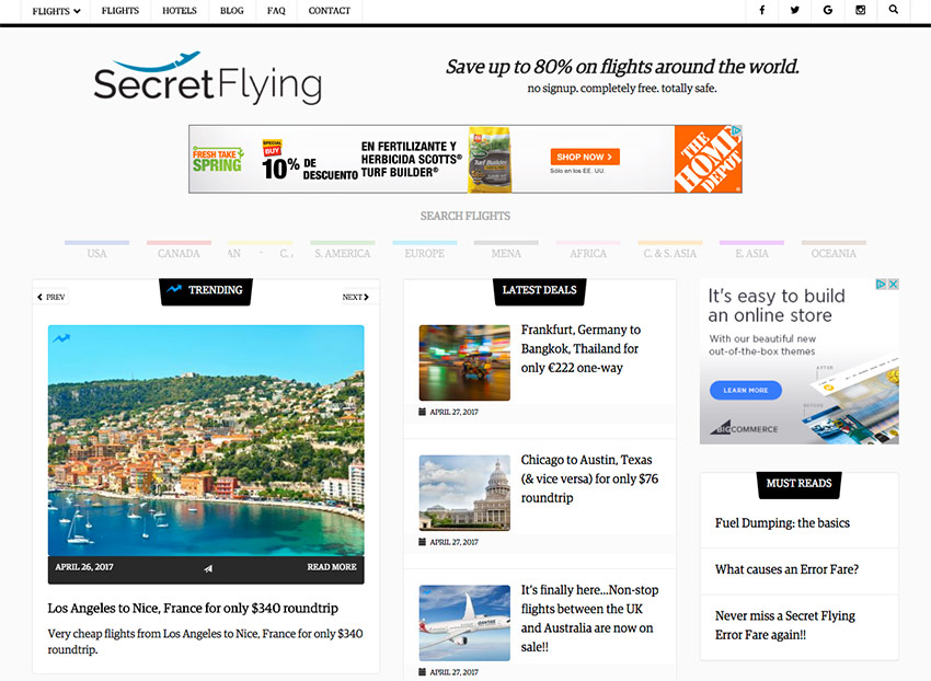 SecretFlying deals passive income site